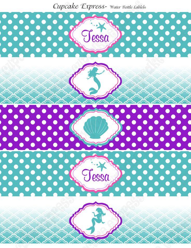 Etiquetas de botella de agua inspirado Ariel por CupcakeExpress
