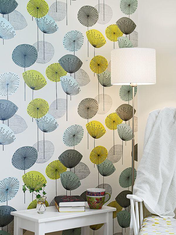 Sanderson Dandelion Clocks fabric pattern in a wallpaper - awesome.