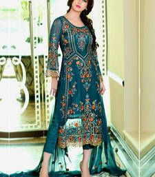 Buy Blue georgette embroidered semi  stitched salawr with dupatta party-wear-salwar-kameez online