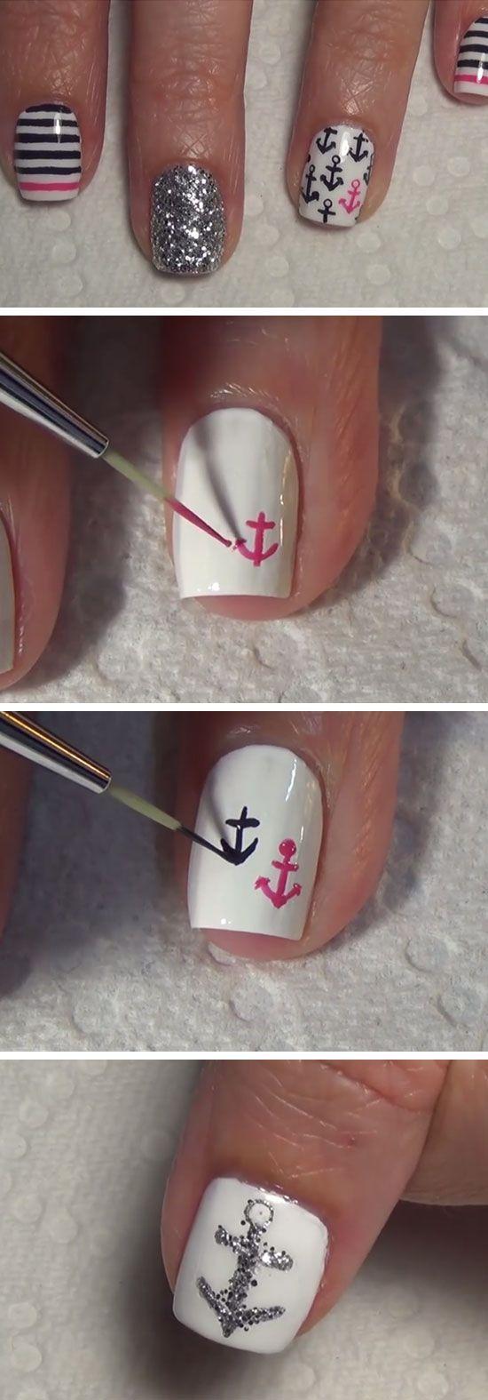 Nautical Nail Art   18 Easy Summer Nails Designs for Summer   Cute Nail Art Ideas for Teens Nail Design, Nail Art, Nail Salon, Irvine, Newport Beach
