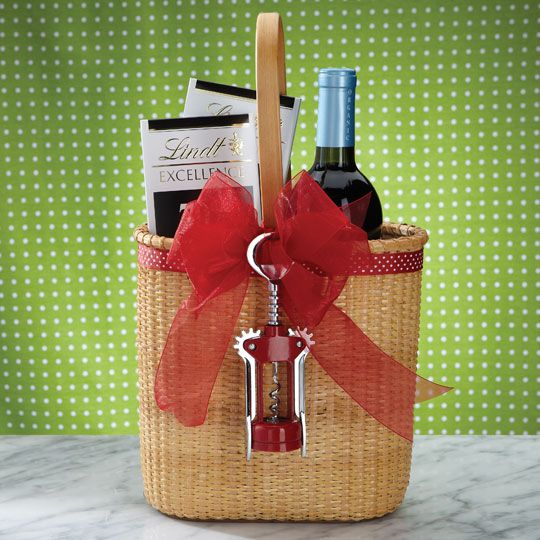 this is such an adorable idea or wine and chocolate lovers - the basket is so cute and the corkscrew is a great idea..
