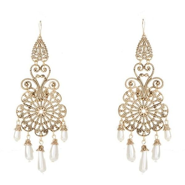 Gold Filigree Pearl Chandelier Earrings ($6.67) ❤ liked on Polyvore featuring jewelry, earrings, accessories, white gold pearl earrings, gold drop earrings, yellow gold pearl earrings, gold chandelier earrings and gold jewellery