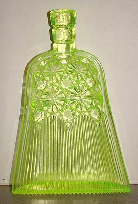 "Vaseline Glass EAPG 1886 George Duncan & sons ""Whisk Broom"" Novelty Pickle dish Dasiy & Buttons"