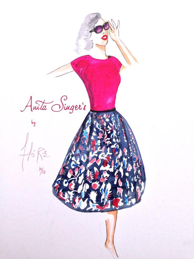 Ilustración Vestido Teresa By Anita Singers. Por Andres Ruiz Ilustrador.  https://www.facebook.com/pages/Anita-Singers/565541916806170#!/pages/Anita-Singers/565541916806170