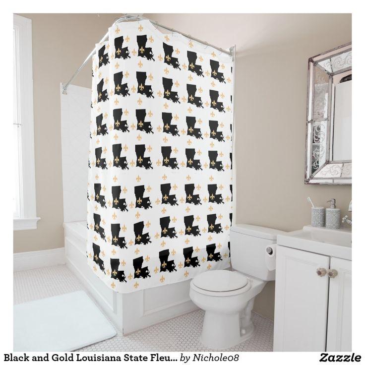 Black and Gold Louisiana State Fleur-De-Lis Shower Curtain