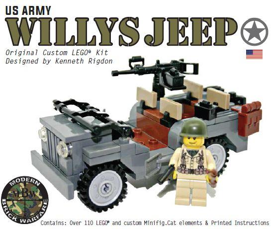 Willy's Jeep with Custom Printed Minifigure - Modern Brick Warfare Toys  #lego #WW2 #custom kits
