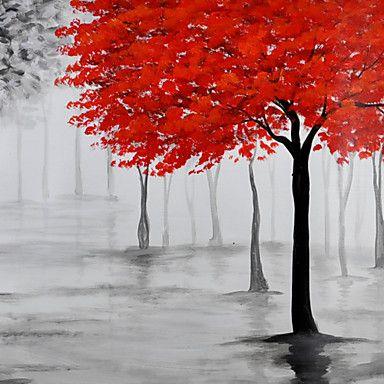 met de hand geschilderd olieverf op doek kunst aan de muur abstracte hedendaagse bomen bos grijs één paneel klaar te hangen 2016 – €48.99