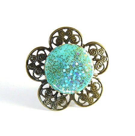 Bague fleur réglable en métal bronze et argile polymère turquoise : Collier par commeilvousplaira