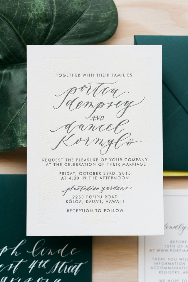 Tropical Calligraphy Wedding Invitations by Cast Calligraphy / Photo: Orange Photographie / Oh So Beautiful Paper