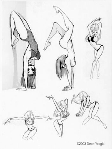 handstand girl would be cool, in a more minimal bare line drawing // © Dean Yeagle ® Pin Up Girls