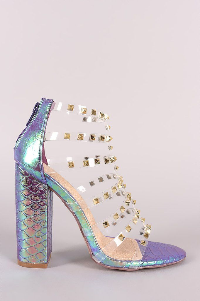 349810ed3a Liliana Clear Studded Straps Holographic Chunky Heel   Trending Heels For  Shoe Lovers   Chunky heels, Shoes, Holographic heels