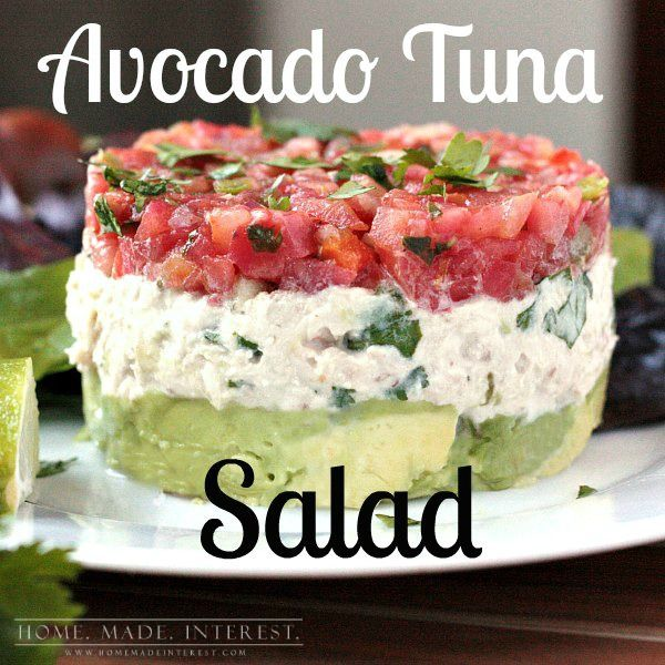 Tuna salad with avocado and fresh salsa. It is perfect for an easy lunch or a simple low carb meal.