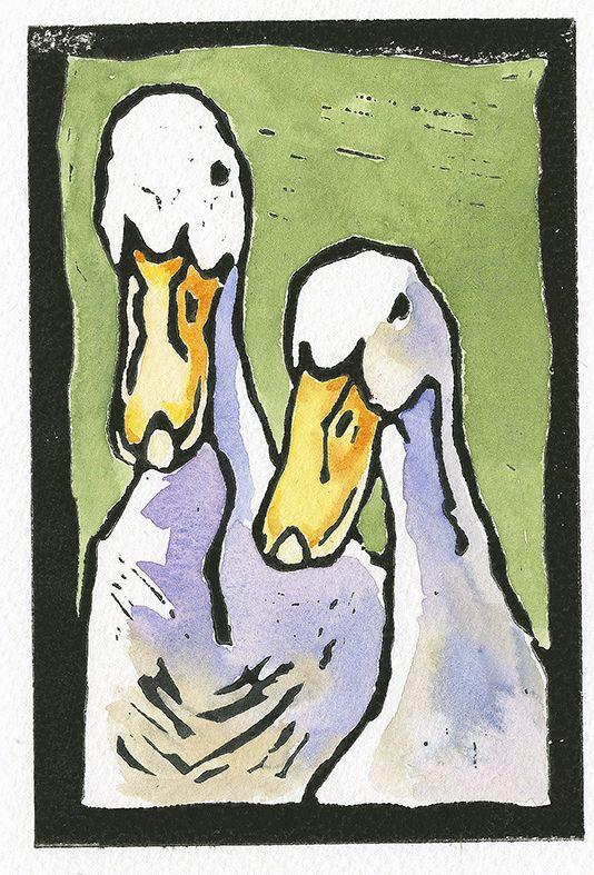 Hand-coloured Linocuts
