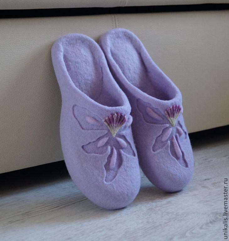 """Купить Валяные тапочки """"Lavender Orchid"""" - бледно-сиреневый, лавандовый цвет, валяные тапочки"""