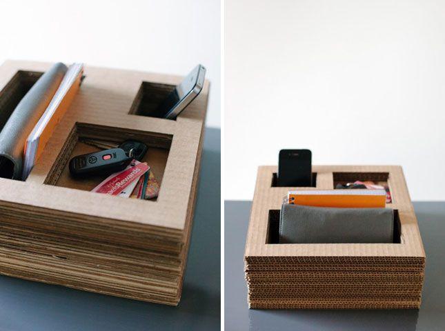 Stacked Cardboard Caddy | 25 Ways to Keep Your Workspace Organized