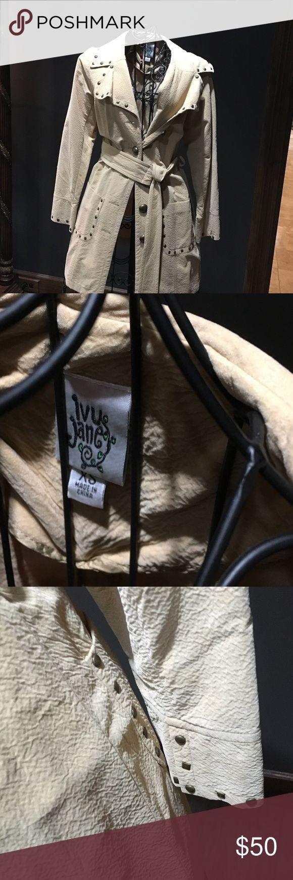 Cream jacket Jacket cream with belt and studs Jackets & Coats Blazers