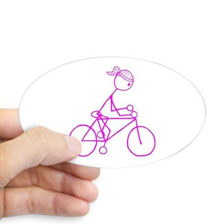 Bicycle Girl- Pink Sticker (Oval) on CafePress.com