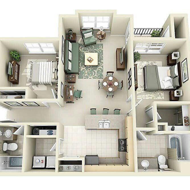 Gambar Mungkin Berisi Dalam Ruangan Apartment Layout Two Bedroom House House Plans