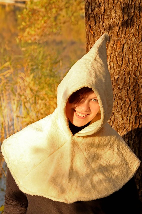 READY TO SHIP  white cape whit hood fantasy by RavenThreadsLab