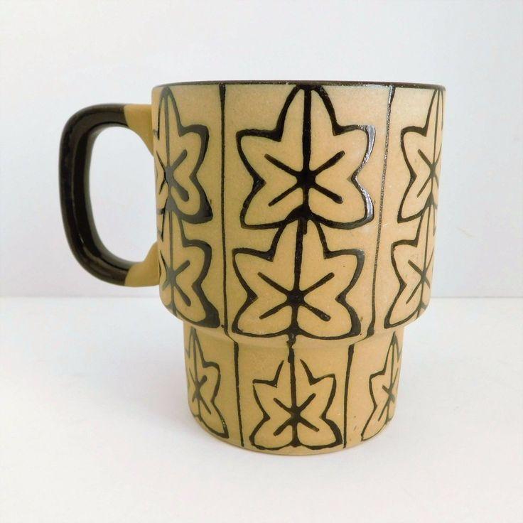 Terracotta Coffee Cup Leaf Design 10 Oz Retro Tea Mug Brown Black White Inside