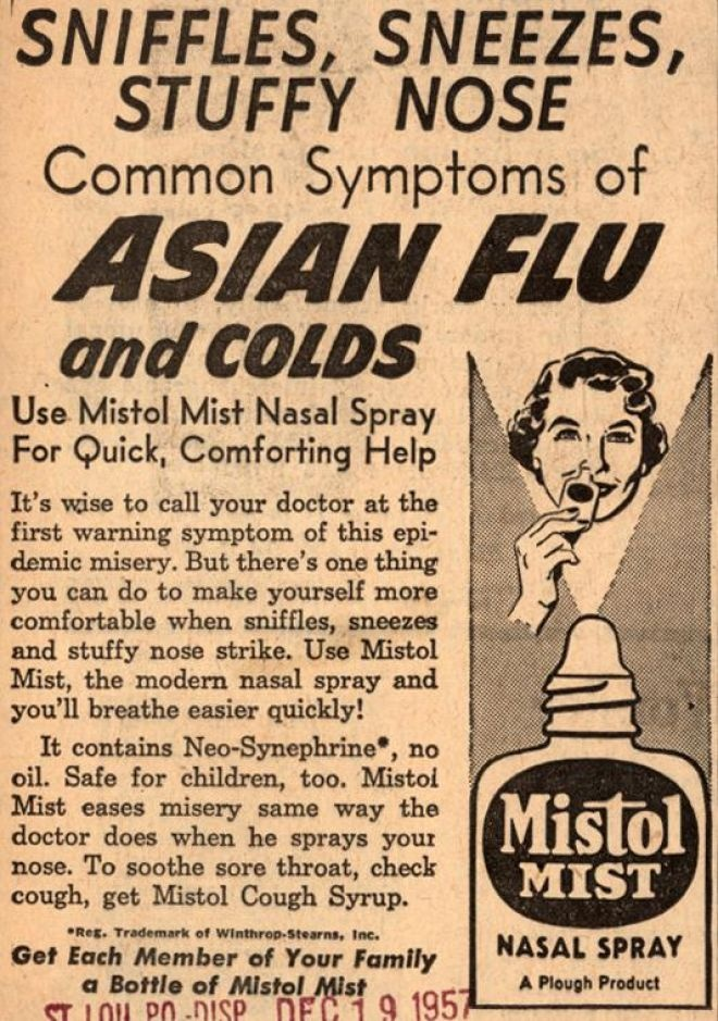Plough's Mistol Mist – Sniffles, Sneezes, Stuffy Nose Common Symptoms of Asian Flu and Colds (1958)