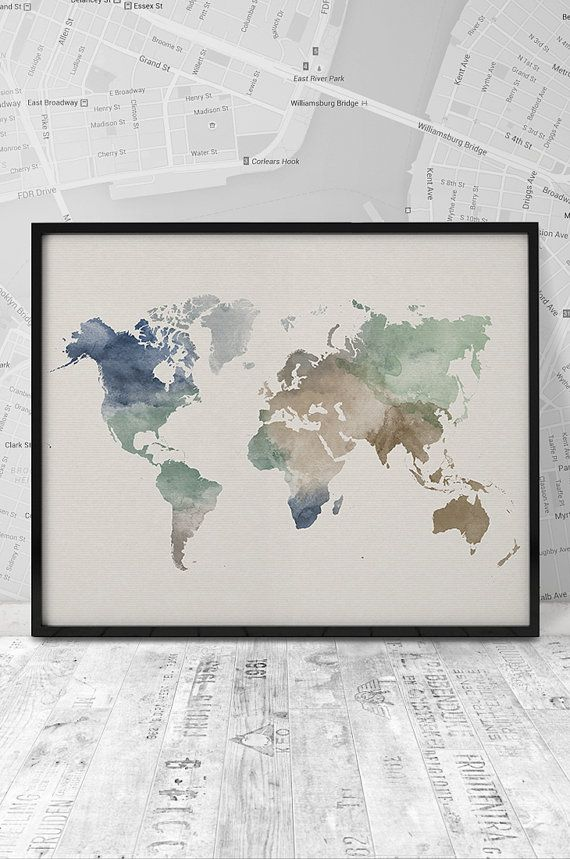 Hey, I found this really awesome Etsy listing at https://www.etsy.com/listing/237407748/world-map-art-print-watercolor-world-map