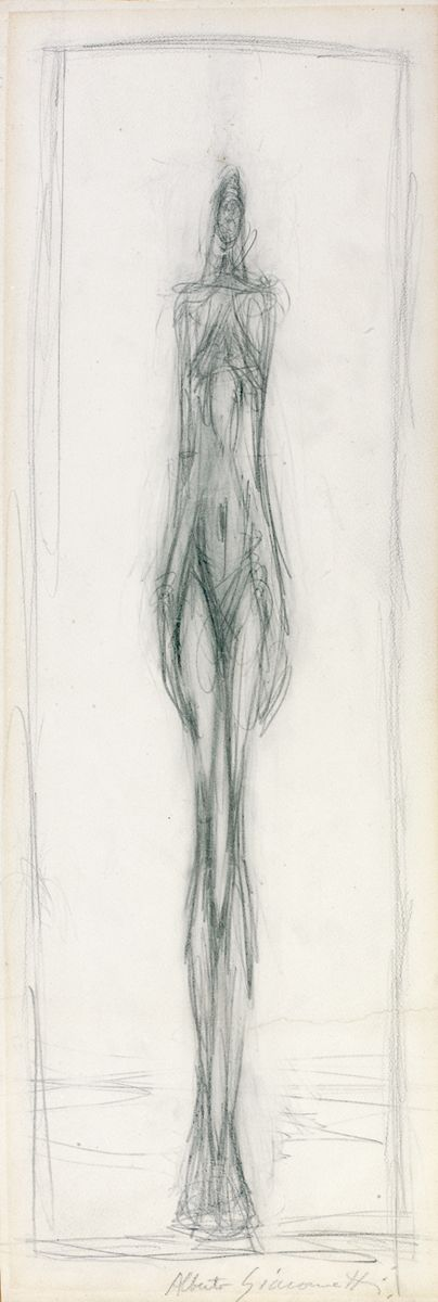"Alberto Giacometti. ""Femme debout"" (Standing woman), drawing in crayon on paper dated c.1947-1950."