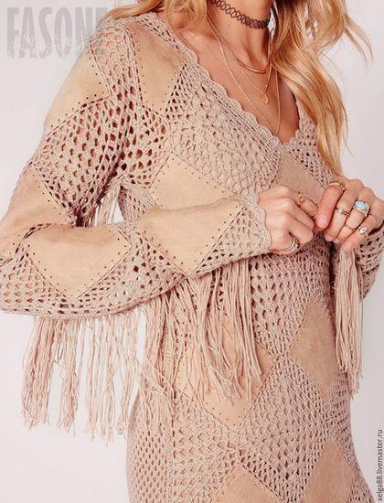 Платье нюдовое вязаное `Бохо-шик`