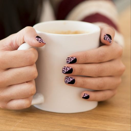 Pink Leopard and Black Nails Stickers by elenaind