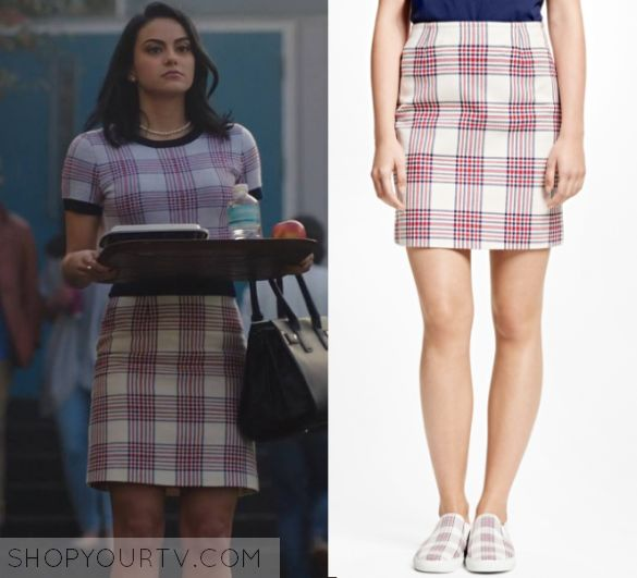 "Riverdale: Season 1 Episode 1 Veronica's Plaid Pencil Skirt | Veronica Lodge (Camila Mendes) wears this white and pink plaid pencil skirt in this episode of Riverdale, ""The Rivers Edge"".  It is the Brooks brothers Cotton Large Plaid Skirt in Red."