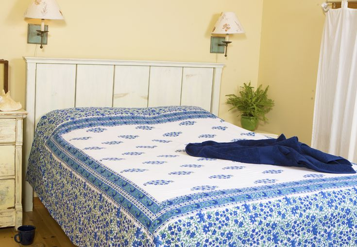 French Country Decor - Blue Bed Sheets - Hand Block Printed from Attiser
