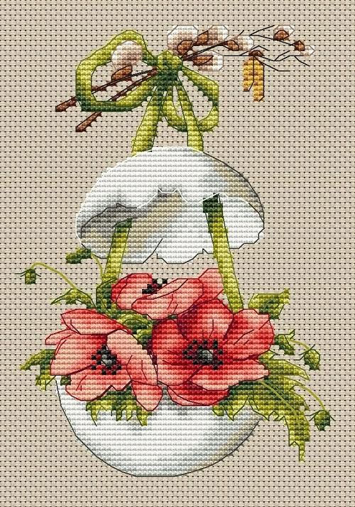 Easter Egg with Anemones Cross Stitch Pattern