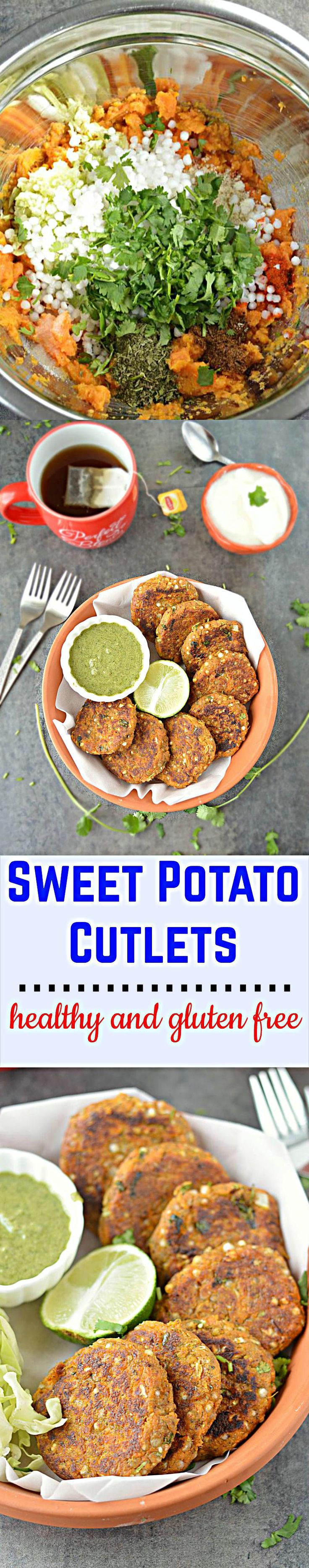 Sweet potato cutlet or Shakarkandi cutlets - a healthy, gluten-free, no onion no garlic cutlet. Super yum and easy to prepare!! Just toss everything together, mix, shape and cook.
