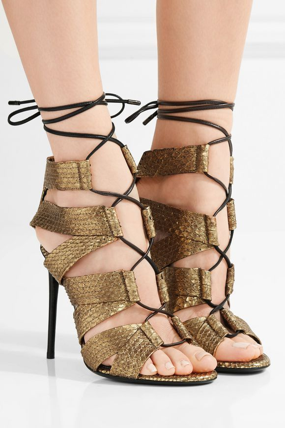 Lace-up metallic python sandals | TOM FORD | Sale up to 70% off | THE OUTNET