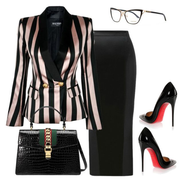 Untitled #521 by sanchez-drummond on Polyvore featuring polyvore fashion style Balmain Christian Louboutin Gucci Tom Ford clothing