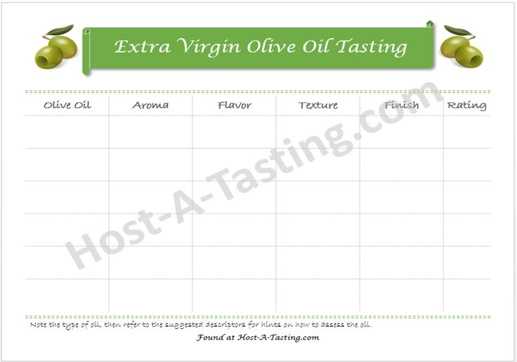 Taste and evaluate olive oils like an expert with this Extra Virgin Olive Oil tasting notes sheet.