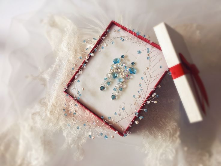 Bridal waterfall earrings and hair accessories for braids handmade with Swarovski Elements crystals rhinestones, aquamarine, blue; wedding earrings, bridal hair accessories, drop earrings, long earrings, blue earrings