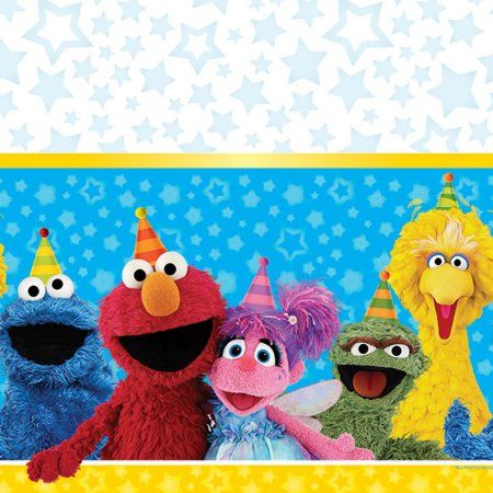 Sesame Street Plastic Table Cover, 54 inch x 96 inch, Party Supplies, Multicolor