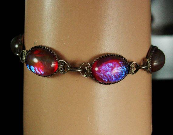 ART DECO Bracelet Hauntingly beautiful Jelly opal bracelet sterling dragons BREATH Bracelet 1920's vintage silver filigree