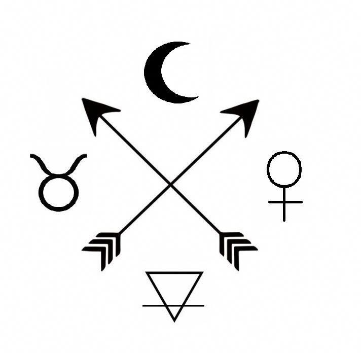 My dream tattoo symbols: The moon, taurus , venus earth and tso arrows #smalltattoossymbols