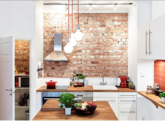 Exposed brick wall white kitchen kitchen pinterest for White exposed brick wall