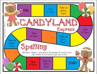 FREE Candyland game board that deals with the first 24 high frequency words in writing. great for first grade!