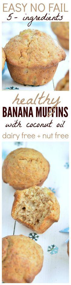 Clean banana muffins  Delicious moist and fluffy banana muffins made with coconut oil are the BEST ! A great snack ready to fill your kids lunch box with healthy baking with NO processed food.