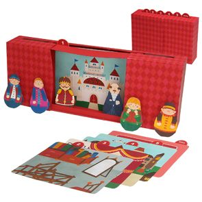 Free to print: The emperor's new clothes puppet theater! Fun free paper craft! Includes theater, background scenery, and paper puppets.