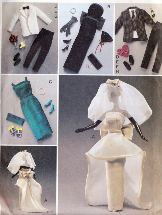"""Doll Clothes Sewing Pattern for Barbie or 11 1/2"""" Fashion Doll, Wedding Dress, Evening Dress, Tux, Suit, Vogue 7814 uncut"""