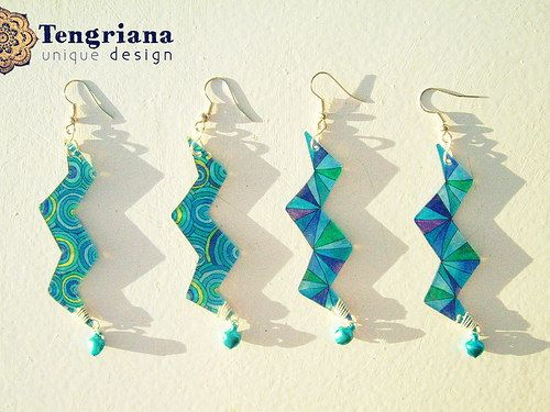 Mandalightning and Art Decoloratio unique earrings in shade of blue - celestial, marine, waterfalls, icy, purple and green