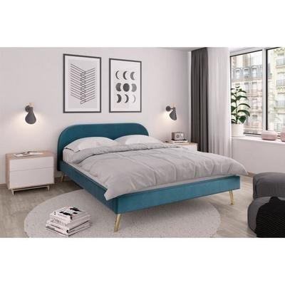 Zen Lit Scandinave Velours Bleu Canard Et Pieds Dores Sommier Et Tete De Lit L 160 X L 200 Cm Structure De Lit Deco Chambre Zen Deco Chambre A Coucher