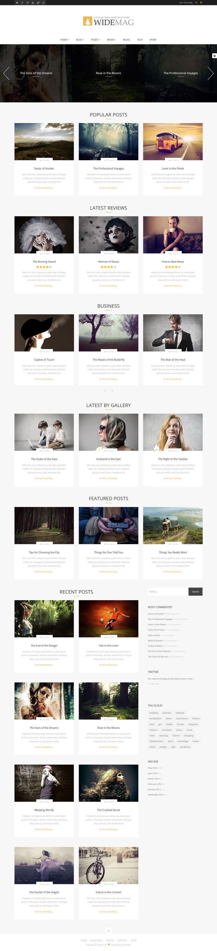 Widemag - Wordpress Magazine Theme #wordpress #magazinetemplate Live Preview and Download: http://themeforest.net/item/widemag-wordpress-magazine-theme/8377608?ref=ksioks