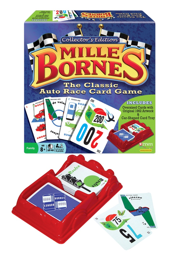 Mille Bornes Collectors Edition by Winning Moves is the classic French car racing card game from the 1960's.  Includes original artwork!