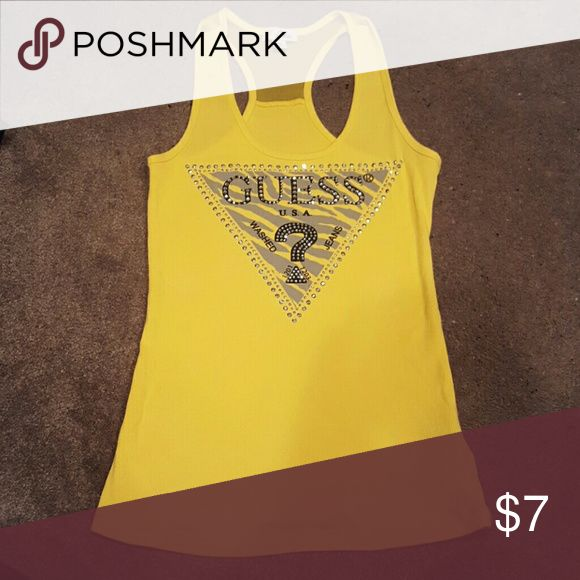 Tank top Yellow tank by Guess JEANS like new no missing stones Guess Tops Tank Tops